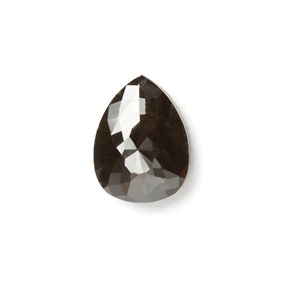 Black Diamond Rose Cut Teardrop Cabochon, Approx 7x5mm