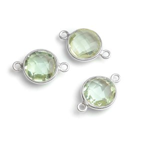 Sterling Silver Bezel Set Faceted Green Amethyst Link Connector, 11mm round