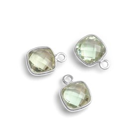 Sterling Silver Bezel Set Faceted Green Amethyst 11mm Square Pendant Connector