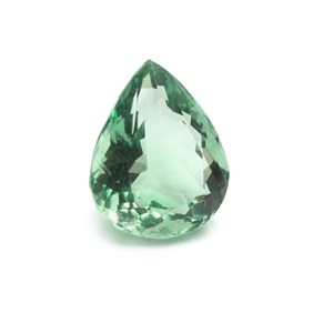 Green Fluorite 19.5x16mm Faceted Teardrop Stone