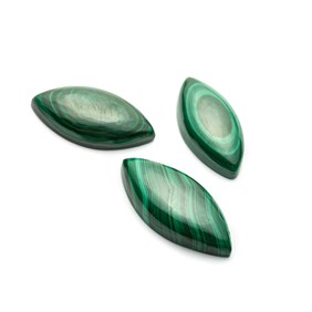 Malachite Marquise Cabochon, Approx from 35x17mm to 40x19mm