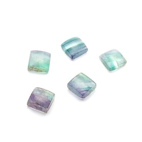 Multi-coloured Banded Fluorite Square Cabochons, Approx 10mm