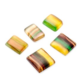 Multi-coloured Banded Fluorite Rectangular Cabochons
