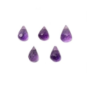 Amethyst Faceted Drop Briolette Beads, Approx 6x4mm, Pack Of 10 Beads