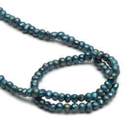 Mini Cultured Freshwater Teal Blue Potato Pearls, Approx 2.5x1mm