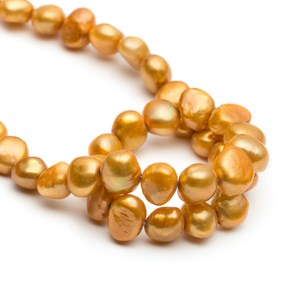 Cultured Freshwater Gold Semi-Baroque Pearls, Approx 7-9mm