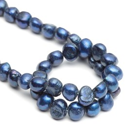 Cultured Freshwater Blue Semi-Baroque Pearls, Approx 5-7mm