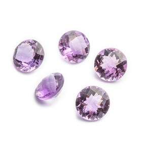Brazilian Amethyst Checker Cut 10mm Round Faceted Stones