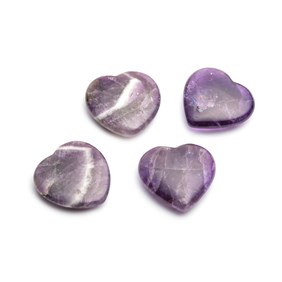 Amethyst Polished Carved Heart, Approx 26x25mm
