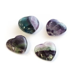 Fluorite Polished Carved Heart