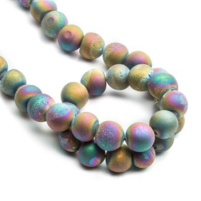 Peacock Agate Drusy Round Beads