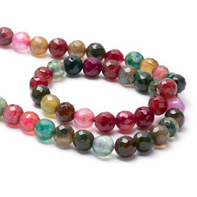 Multicoloured Cracked Agate Round Faceted Beads