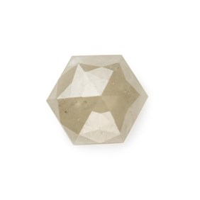 Silver Diamond Rose Cut Hexagon Cabochon, Approx 4.25mm
