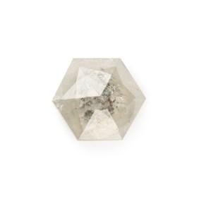 Silver Grey Diamond Rose Cut Hexagon Cabochon