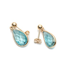 9ct Gold Faceted Sky Blue Topaz Teardrop Earrings, Approx 14x8mm