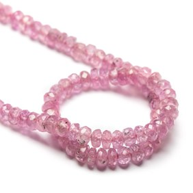 Pink Sapphire Faceted Rondelle Beads, Approx 3.5-4x2.5mm To 5x4mm