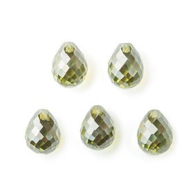 Top Drilled Faceted Green Tourmaline Coloured Cubic Zirconia Teardrop Briolette Bead, Approx 10x8mm