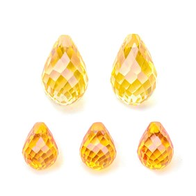 Top Drilled Faceted Citrine Coloured Cubic Zirconia Teardrop Briolette Bead