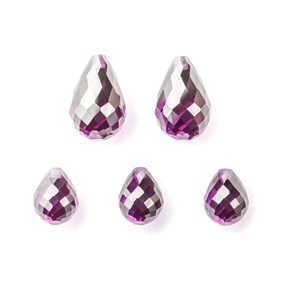 Top Drilled Faceted Amethyst Coloured Cubic Zirconia Teardrop Briolette Bead
