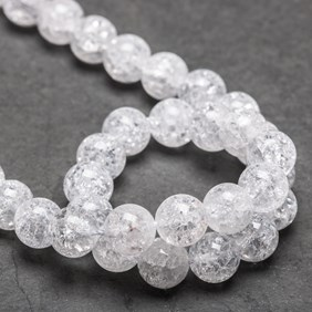 Crackle Crystal Quartz Round Beads