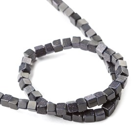 Blue Goldstone Cube Beads, Approx 4mm