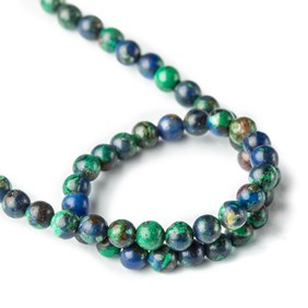 Azurite Round Beads, Approx 4mm