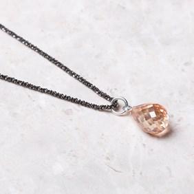Sparkling Diamond & Champagne Briolette Necklace