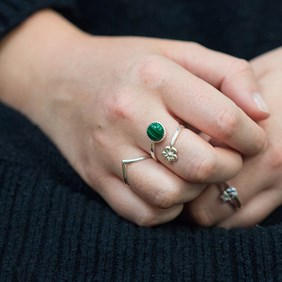 Malachite & Flower Ring