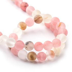 Frosted Cherry Quartz Round Beads