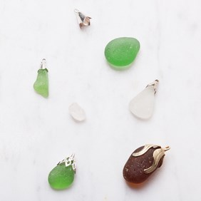 sea glass and bell caps