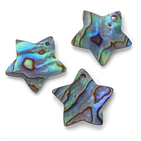 Paua Shell Star Shape Charm, Approx 18-20mm