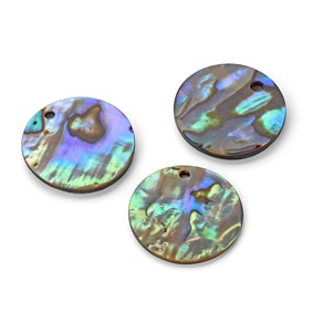 Paua Shell Disc Shape Charm, Approx 18-20mm