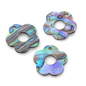 Paua Shell Flower Shape Charm, Approx 18-20mm