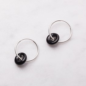 Onyx Donut Hoop Earrings