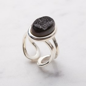 Shimmering Black Drusy Ring