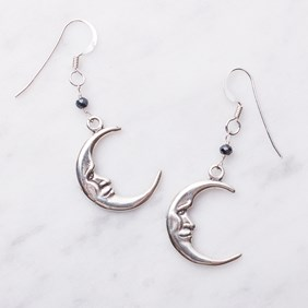 Spinel & Crescent Moon Earrings