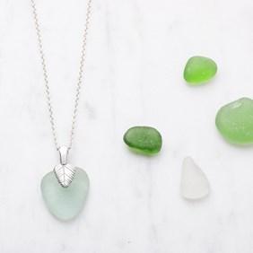 Sea Glass & Leaf Necklace