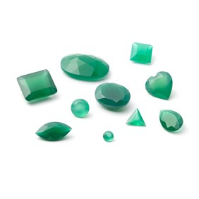 Green Agate Faceted Stones