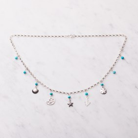 Turquoise & Beach Charm Necklace
