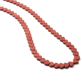 Red Jasper Heart Beads, 5mm