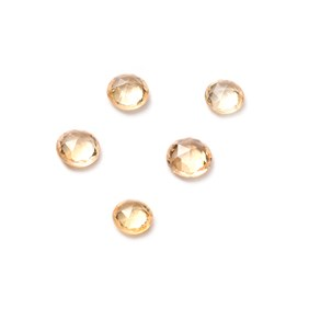 Golden Yellow Sapphire Rose Cut Cabochons, Approx 3mm Round