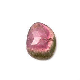 Watermelon Tourmaline Faceted Cabochon, Approx 13x9mm