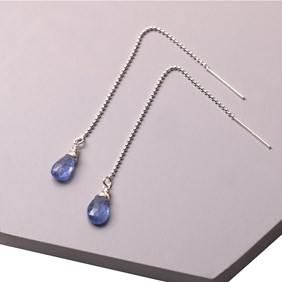 Tanzanite and Bead Chain Threader Earrings