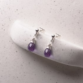 Amethyst Briolette Stud Earrings