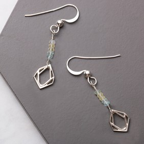 Aquamarine and Geo Charm Earrings