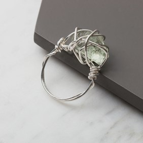 Wire Wrapped Green Amethyst Ring