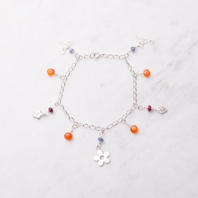 Floral Charm and Gemstone Bracelet