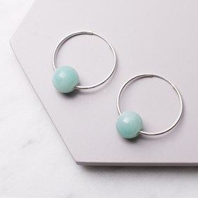 Amazonite Bead Hoop Earrings