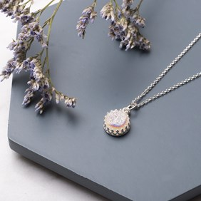 Sparkling White Drusy Necklace