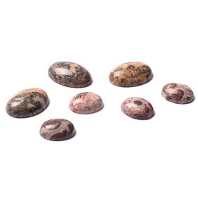 Leopard Skin Agate Cabochons, Approx 10x8mm Oval